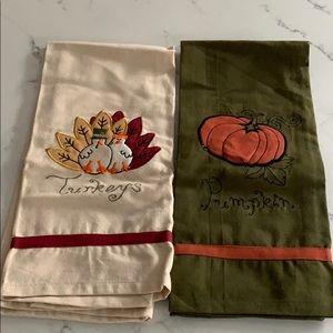 Turkeys & Pumpkin Hand Towels